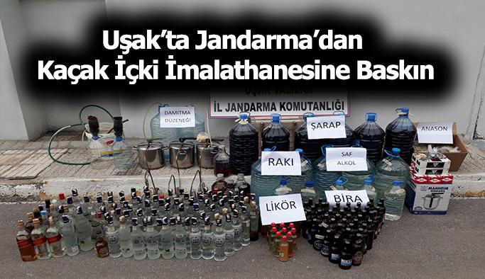 Uşak'ta Jandarma'dan Kaçak İçki İmalathanesine Baskın