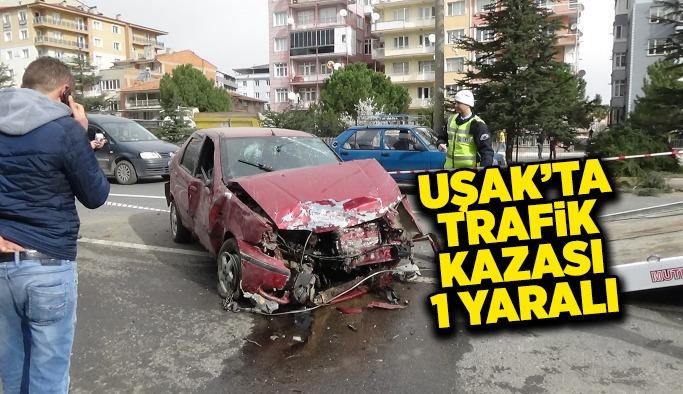 Uşak'ta  trafik kazası, 1 yaralı