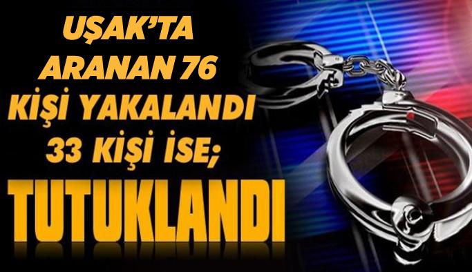 Uşak polisi aranan şahıslara geçit vermiyor,  76 gözaltı,33 tutuklama