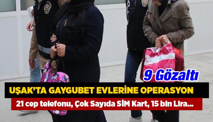 """Uşak'ta FETÖ/PDY  """"gaygubet evleri"""" operasyonu"""