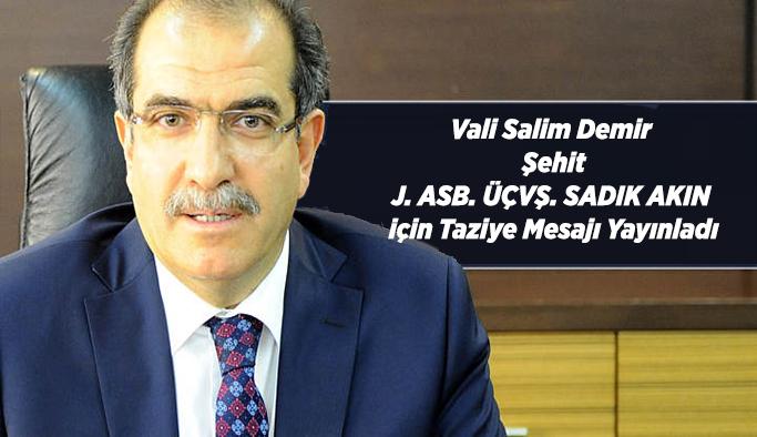 Vali Salim Demir'in taziye mesajı