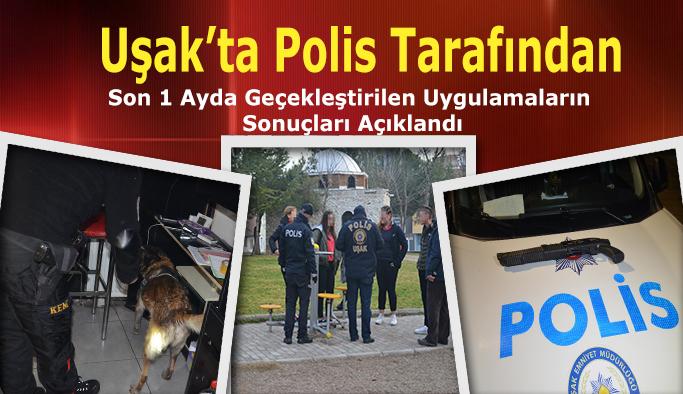 Uşak'ta Polis Tarafından Son 1 Ayda Gerçekleştirilen Uygulamaların Sonuçları Açıklandı