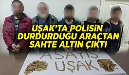 Uşak'ta polisin durdurduğu araçtan 2 kilo sahte altın çıktı