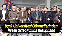 Uşak Üniversitesi Öğrencilerinden İlyaslı Ortaokuluna Kütüphane