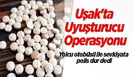 Uşak'ta yolcu otobüsü ile uyuşturucu sevkiyatına  polis dur dedi