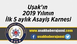 Uşak'ın  2019 yılı ilk 5 aylık Asayiş karnesi açıklandı