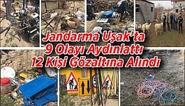 Jandarma Uşak'ta 9 olayı aydınlattı, 12 kişi gözaltına alındı