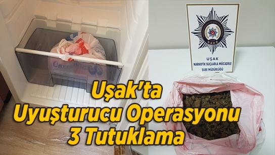 Uşak'ta Uyuşturucu Operasyonu, 3 Tutuklama