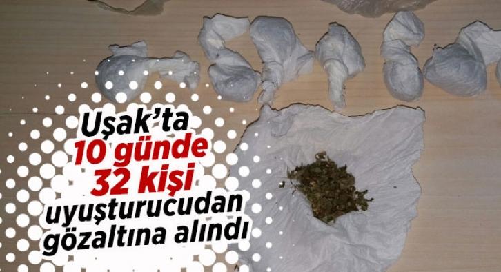 Uşak'ta uyuşturucu operasyonu, 32 kişi gözaltına alındı