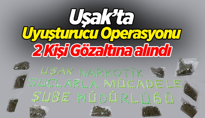 Uşak'ta uyuşturucu operasyonu; 2 gözaltı