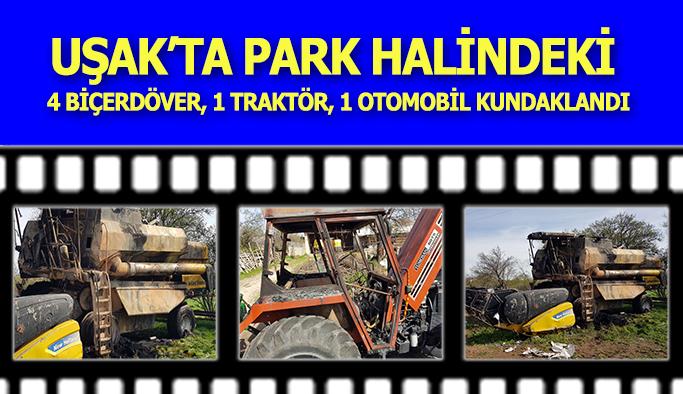 Uşak'ta Park Halindeki Tarım Araçları Kundaklandı