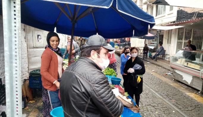 Aydın'da semt pazarlarına sosyal mesafe düzeni