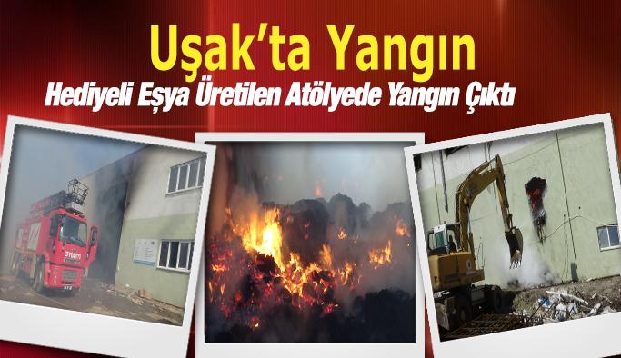 Uşak'ın Banaz ilçesinde atölyede çıkan yangın kontrol altına alındı