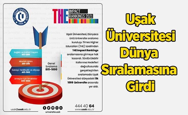 Uşak Üniversitesi Dünya Sıralamasına Girdi