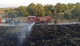 Anız yangını ormana sıçramadan söndürüldü